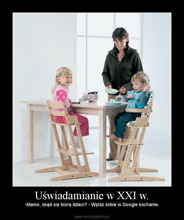 Uświadamianie w XXI w. – -Mamo, skąd się biorą dzieci? - Wpisz sobie w Google kochanie.