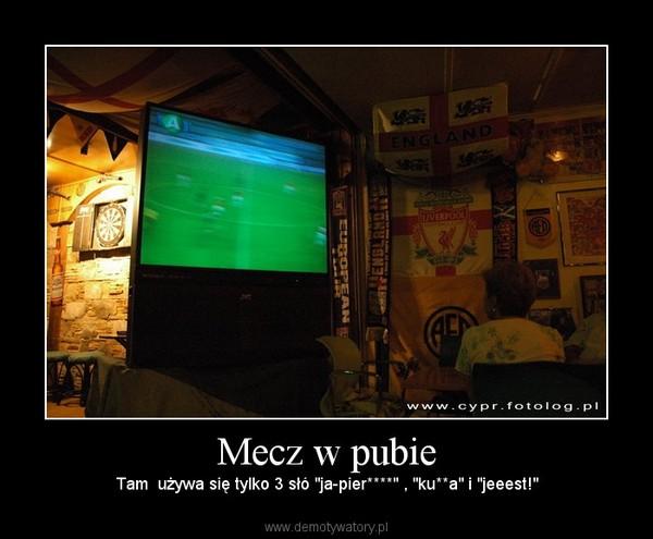 """Mecz w pubie – Tam  używa się tylko 3 słó """"ja-pier****"""" , """"ku**a"""" i """"jeeest!"""""""