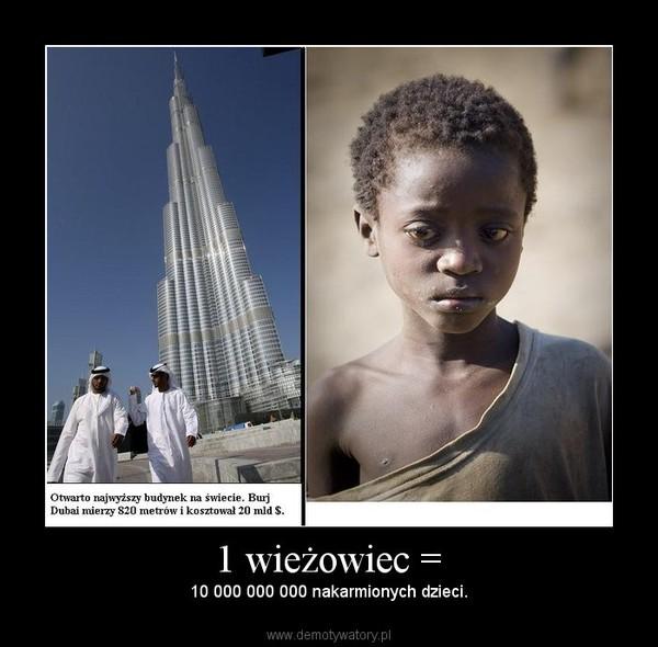 1 wieżowiec = – 10 000 000 000 nakarmionych dzieci.
