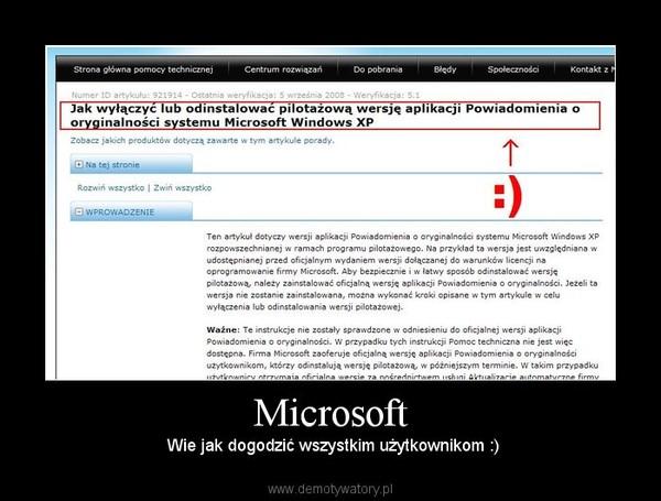 Microsoft –  Wie jak dogodzić wszystkim użytkownikom :)