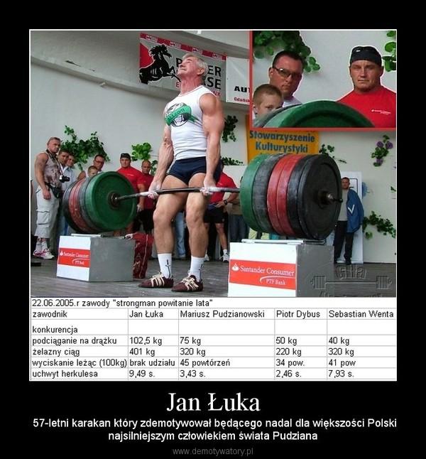 Jan Łuka –  57-letni karakan który zdemotywował będącego nadal dla większości Polskinajsilniejszym człowiekiem świata Pudziana