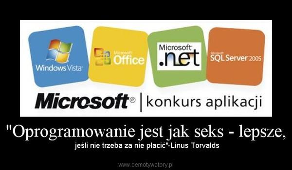 """""""Oprogramowanie jest jak seks - lepsze, – jeśli nie trzeba za nie płacić""""-Linus Torvalds"""