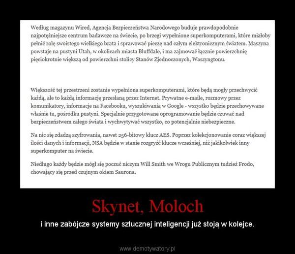 Skynet, Moloch – i inne zabójcze systemy sztucznej inteligencji już stoją w kolejce.