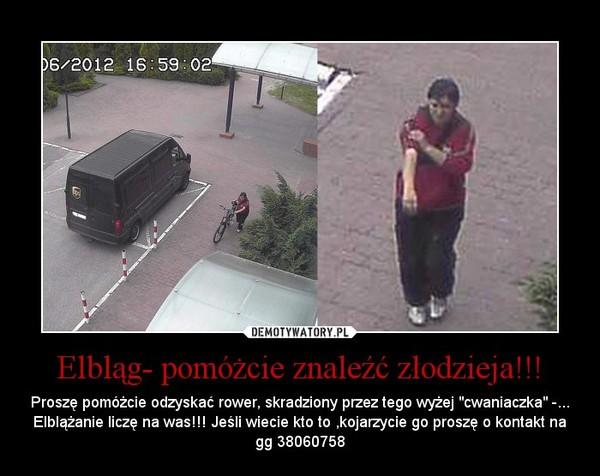 """Elbląg- pomóżcie znaleźć złodzieja!!! – Proszę pomóżcie odzyskać rower, skradziony przez tego wyżej """"cwaniaczka"""" -... Elblążanie liczę na was!!! Jeśli wiecie kto to ,kojarzycie go proszę o kontakt na gg 38060758"""