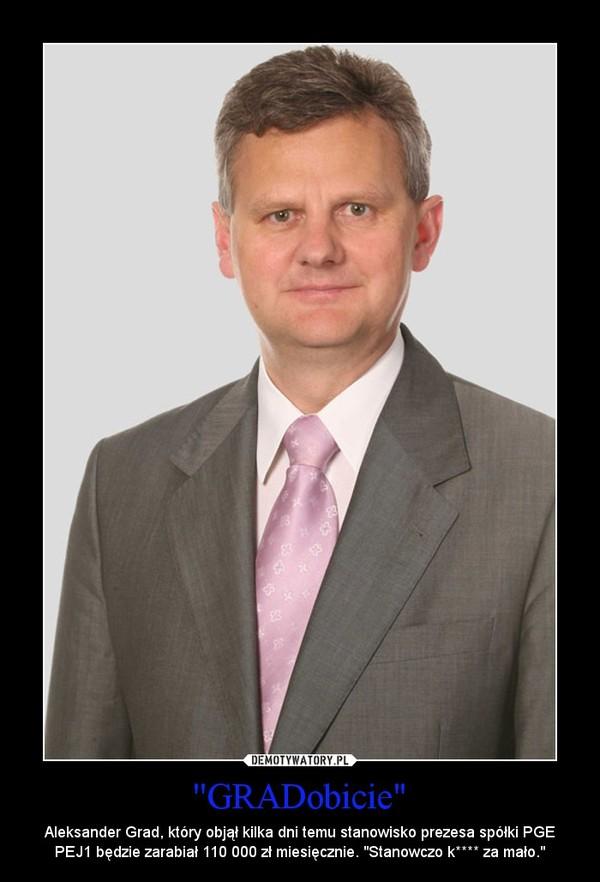 """''GRADobicie"""" – Aleksander Grad, który objął kilka dni temu stanowisko prezesa spółki PGE PEJ1 będzie zarabiał 110 000 zł miesięcznie. """"Stanowczo k**** za mało."""""""