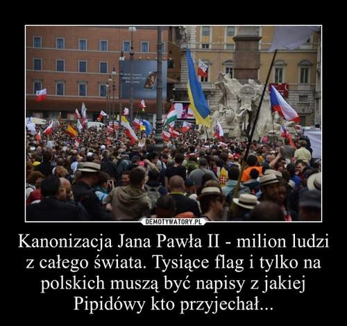 Kanonizacja Jana Pawła II - milion ludzi z całego świata. Tysiące flag i tylko na polskich muszą być napisy z jakiej Pipidówy kto przyjechał...
