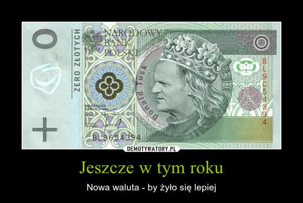 Jeszcze w tym roku – Nowa waluta - by żyło się lepiej