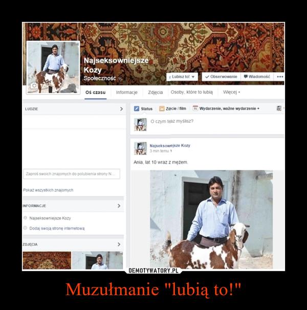 """Muzułmanie """"lubią to!"""" –"""