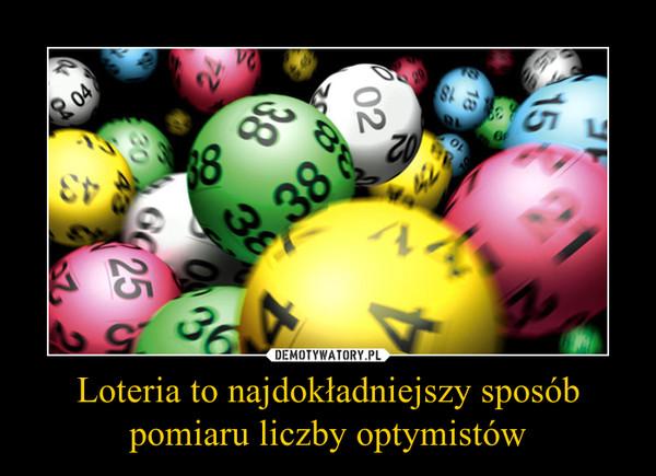 Loteria to najdokładniejszy sposób pomiaru liczby optymistów –