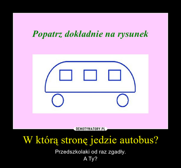 W którą stronę jedzie autobus? – Przedszkolaki od raz zgadły.A Ty?