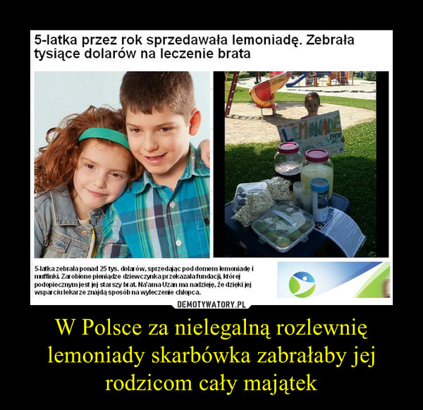 W Polsce za nielegalną rozlewnię lemoniady skarbówka zabrałaby jej rodzicom cały majątek –