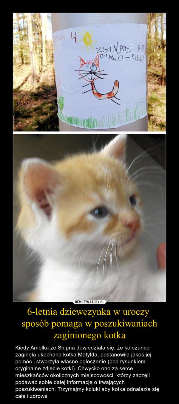 6-letnia dziewczynka w uroczy sposób pomaga w poszukiwaniach zaginionego kotka – Kiedy Amelka ze Słupna dowiedziała się, że koleżance zaginęła ukochana kotka Matylda, postanowiła jakoś jej pomóc i stworzyła własne ogłoszenie (pod rysunkiem oryginalne zdjęcie kotki). Chwyciło ono za serce mieszkańców okolicznych miejscowości, którzy zaczęli podawać sobie dalej informację o trwających poszukiwaniach. Trzymajmy kciuki aby kotka odnalazła się cała i zdrowa