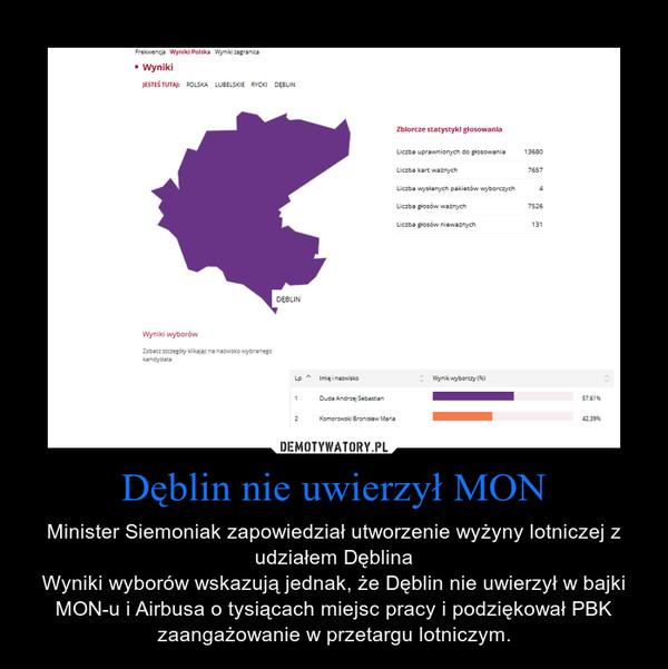 Dęblin nie uwierzył MON – Minister Siemoniak zapowiedział utworzenie wyżyny lotniczej z udziałem DęblinaWyniki wyborów wskazują jednak, że Dęblin nie uwierzył w bajki MON-u i Airbusa o tysiącach miejsc pracy i podziękował PBK zaangażowanie w przetargu lotniczym.