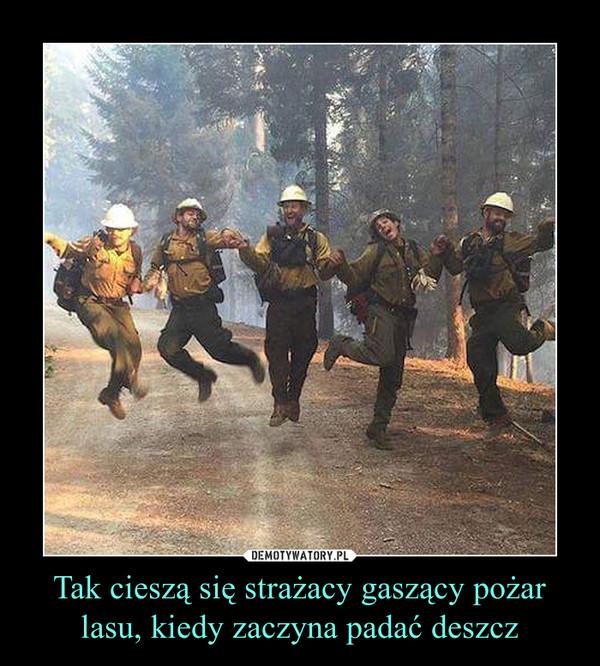Tak cieszą się strażacy gaszący pożar lasu, kiedy zaczyna padać deszcz –