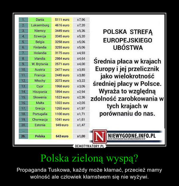 Polska zieloną wyspą? – Propaganda Tuskowa, każdy może kłamać, przecież mamy wolność ale człowiek kłamstwem się nie wyżywi.
