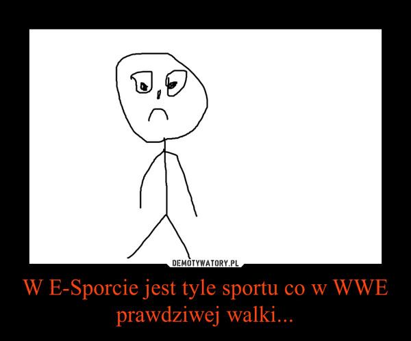 W E-Sporcie jest tyle sportu co w WWE prawdziwej walki... –