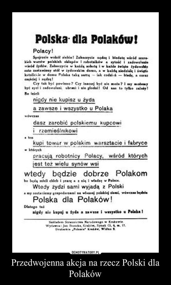 Przedwojenna akcja na rzecz Polski dla Polaków –