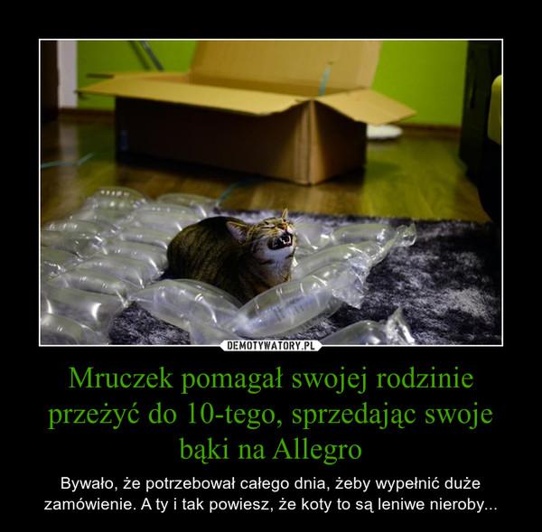Mruczek pomagał swojej rodzinie przeżyć do 10-tego, sprzedając swoje bąki na Allegro – Bywało, że potrzebował całego dnia, żeby wypełnić duże zamówienie. A ty i tak powiesz, że koty to są leniwe nieroby...