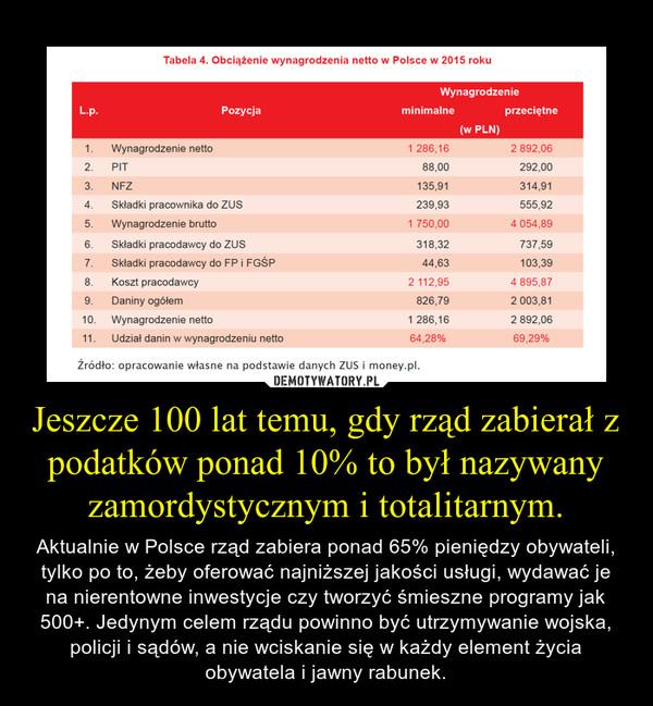 Jeszcze 100 lat temu, gdy rząd zabierał z podatków ponad 10% to był nazywany zamordystycznym i totalitarnym. – Aktualnie w Polsce rząd zabiera ponad 65% pieniędzy obywateli, tylko po to, żeby oferować najniższej jakości usługi, wydawać je na nierentowne inwestycje czy tworzyć śmieszne programy jak 500+. Jedynym celem rządu powinno być utrzymywanie wojska, policji i sądów, a nie wciskanie się w każdy element życia obywatela i jawny rabunek.
