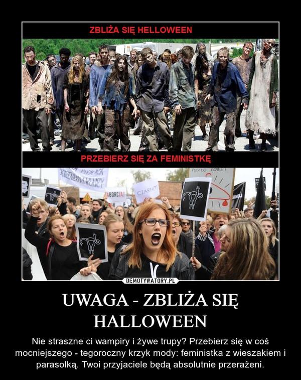 UWAGA - ZBLIŻA SIĘ HALLOWEEN – Nie straszne ci wampiry i żywe trupy? Przebierz się w coś mocniejszego - tegoroczny krzyk mody: feministka z wieszakiem i parasolką. Twoi przyjaciele będą absolutnie przerażeni.