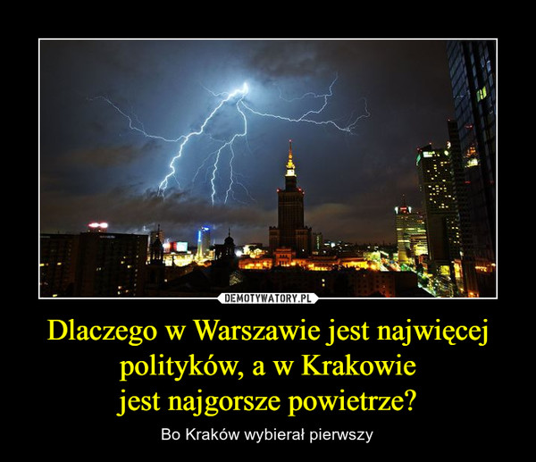 Dlaczego w Warszawie jest najwięcej polityków, a w Krakowiejest najgorsze powietrze? – Bo Kraków wybierał pierwszy