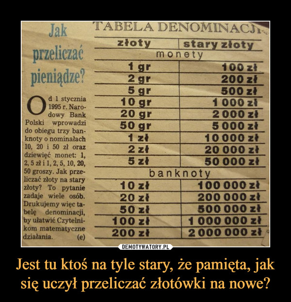 Jest tu ktoś na tyle stary, że pamięta, jak się uczył przeliczać złotówki na nowe? –  Od 1 stycznia1995 r. Narodowy Bank Polski wprowadzido obiegu trzy banknoty o nominałach10, 20 i 50 zl orazdziewięć monet: 1, 2,5 zł i 1,2,5,10, 20,50 groszy. Jak przeliczać złoty na staryzłoty? To pytanie zadaje wiele osób.Drukujemy więc tabelę denominacji,by ułatwić Czytelnikom matematycznedziałania.