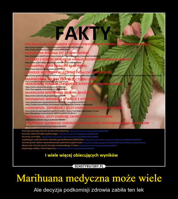 Marihuana medyczna może wiele – Ale decyzja podkomisji zdrowia zabiła ten lek