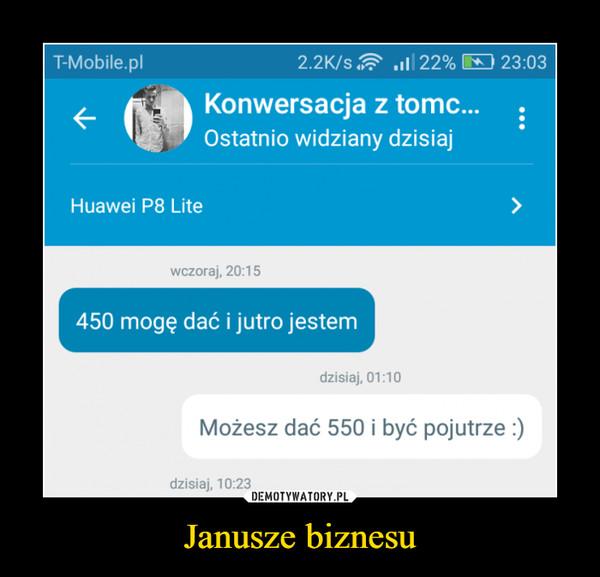 Janusze biznesu –  450 mogę dać i jutro jestemMożesz dać 550 i być pojutrze :)
