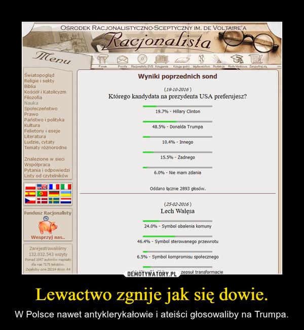 Lewactwo zgnije jak się dowie. – W Polsce nawet antyklerykałowie i ateiści głosowaliby na Trumpa.
