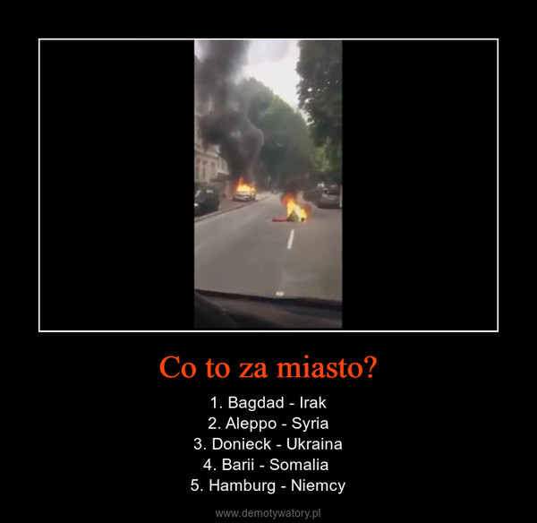 Co to za miasto? – 1. Bagdad - Irak2. Aleppo - Syria3. Donieck - Ukraina4. Barii - Somalia 5. Hamburg - Niemcy