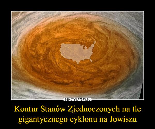 Kontur Stanów Zjednoczonych na tle gigantycznego cyklonu na Jowiszu –