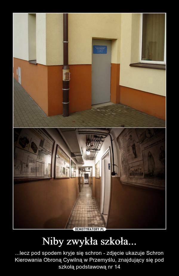 Niby zwykła szkoła... – ...lecz pod spodem kryje się schron - zdjęcie ukazuje Schron Kierowania Obroną Cywilną w Przemyślu, znajdujący się pod szkołą podstawową nr 14