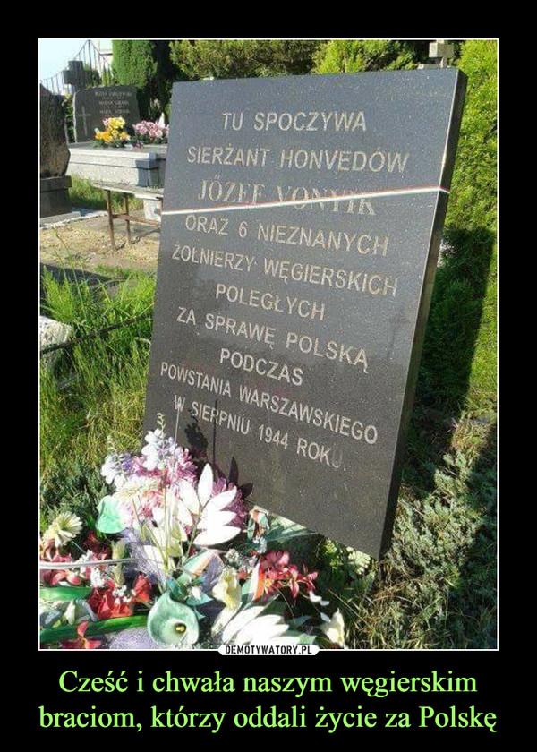Cześć i chwała naszym węgierskim braciom, którzy oddali życie za Polskę –  TU SPOCZYWA SIERŻANT HONDENOW JOZEF VONYK ORAZ 6 NIEZNANYCH ŻOŁNIERZY WĘGIERSKICH POLEGŁYCH ZA SPRAWĘ POLSKĄ PODCZAS POWSTANIA WARSZAWSKIEGO W SIERPNIU 1944 ROKU