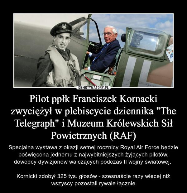 """Pilot ppłk Franciszek Kornacki zwyciężył w plebiscycie dziennika """"The Telegraph"""" i Muzeum Królewskich Sił Powietrznych (RAF) – Specjalna wystawa z okazji setnej rocznicy Royal Air Force będzie poświęcona jednemu z najwybitniejszych żyjących pilotów, dowódcy dywizjonów walczących podczas II wojny światowej. Kornicki zdobył 325 tys. głosów - szesnaście razy więcej niż wszyscy pozostali rywale łącznie"""