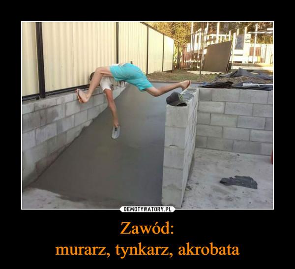Zawód:murarz, tynkarz, akrobata –