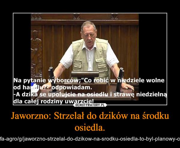 Jaworzno: Strzelał do dzików na środku osiedla. – http://www.dziennikzachodni.pl/strefa-agro/g/jaworzno-strzelal-do-dzikow-na-srodku-osiedla-to-byl-planowy-odstrzal-wideo,12626542,26111398/