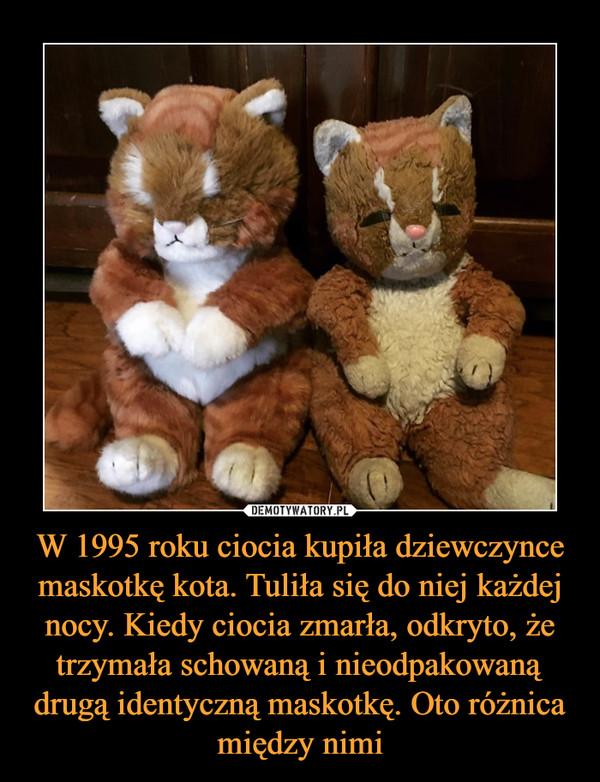 W 1995 roku ciocia kupiła dziewczynce maskotkę kota. Tuliła się do niej każdej nocy. Kiedy ciocia zmarła, odkryto, że trzymała schowaną i nieodpakowaną drugą identyczną maskotkę. Oto różnica między nimi –
