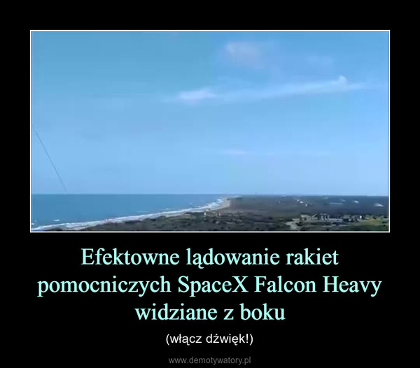 Efektowne lądowanie rakiet pomocniczych SpaceX Falcon Heavy widziane z boku – (włącz dźwięk!)