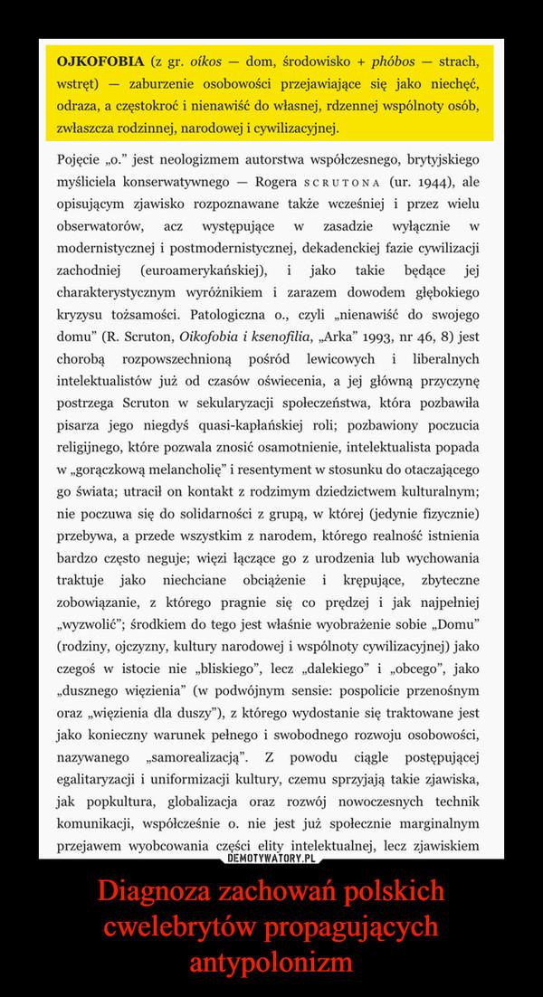 Diagnoza zachowań polskich cwelebrytów propagujących antypolonizm –