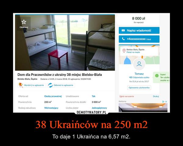 38 Ukraińców na 250 m2 – To daje 1 Ukraińca na 6,57 m2.