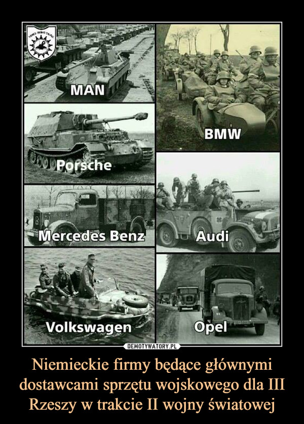 Niemieckie firmy będące głównymi dostawcami sprzętu wojskowego dla III Rzeszy w trakcie II wojny światowej –  man bmw porsche audi opel volkswagen mercedes benz