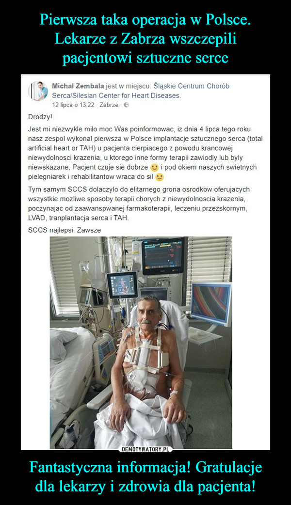 Fantastyczna informacja! Gratulacjedla lekarzy i zdrowia dla pacjenta! –