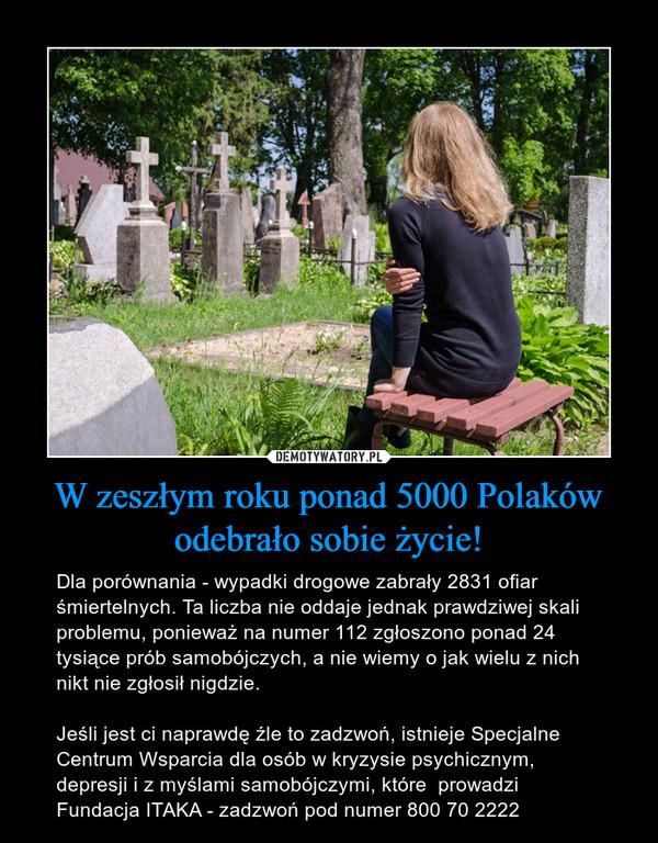 W zeszłym roku ponad 5000 Polaków odebrało sobie życie! – Dla porównania - wypadki drogowe zabrały 2831 ofiar śmiertelnych. Ta liczba nie oddaje jednak prawdziwej skali problemu, ponieważ na numer 112 zgłoszono ponad 24 tysiące prób samobójczych, a nie wiemy o jak wielu z nich nikt nie zgłosił nigdzie.Jeśli jest ci naprawdę źle to zadzwoń, istnieje Specjalne Centrum Wsparcia dla osób w kryzysie psychicznym, depresji i z myślami samobójczymi, które  prowadzi Fundacja ITAKA - zadzwoń pod numer 800 70 2222