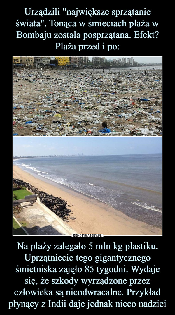 Na plaży zalegało 5 mln kg plastiku. Uprzątniecie tego gigantycznego śmietniska zajęło 85 tygodni. Wydaje się, że szkody wyrządzone przez człowieka są nieodwracalne. Przykład płynący z Indii daje jednak nieco nadziei –