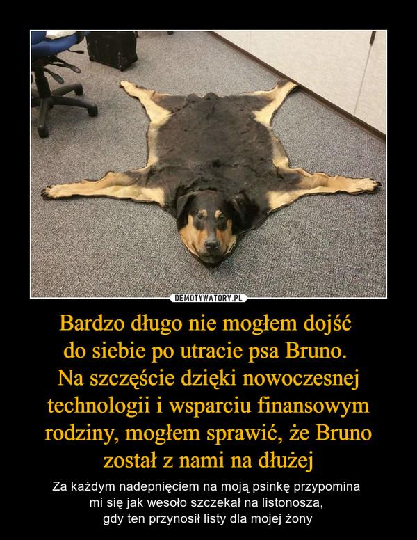 Bardzo długo nie mogłem dojść do siebie po utracie psa Bruno. Na szczęście dzięki nowoczesnej technologii i wsparciu finansowym rodziny, mogłem sprawić, że Bruno został z nami na dłużej – Za każdym nadepnięciem na moją psinkę przypomina mi się jak wesoło szczekał na listonosza, gdy ten przynosił listy dla mojej żony