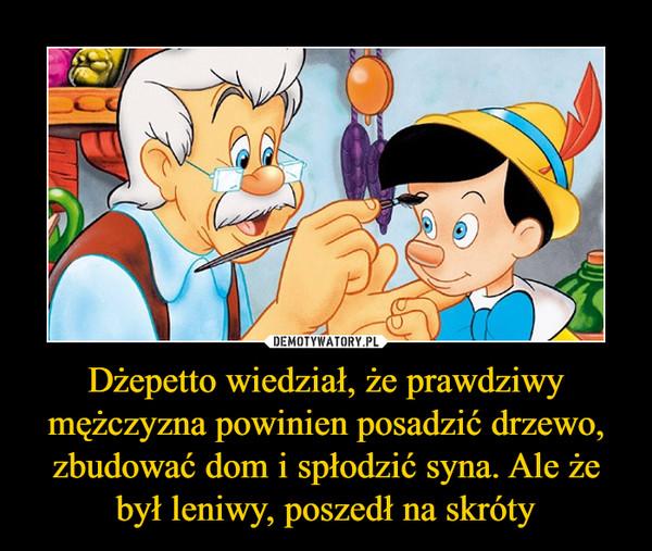 Dżepetto wiedział, że prawdziwy mężczyzna powinien posadzić drzewo, zbudować dom i spłodzić syna. Ale że był leniwy, poszedł na skróty –