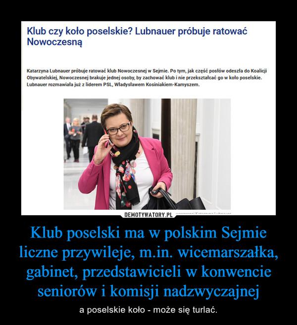 Klub poselski ma w polskim Sejmie liczne przywileje, m.in. wicemarszałka, gabinet, przedstawicieli w konwencie seniorów i komisji nadzwyczajnej – a poselskie koło - może się turlać.