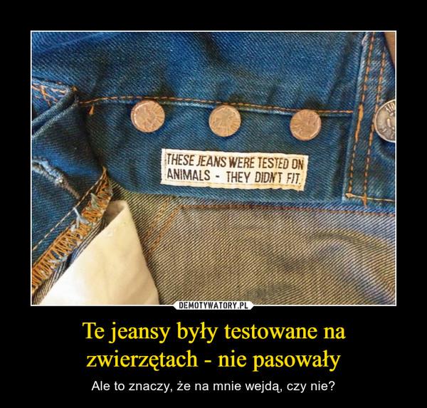 Te jeansy były testowane nazwierzętach - nie pasowały – Ale to znaczy, że na mnie wejdą, czy nie?