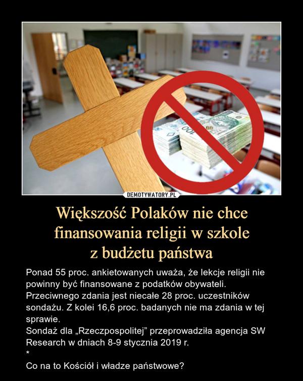 """Większość Polaków nie chce finansowania religii w szkolez budżetu państwa – Ponad 55 proc. ankietowanych uważa, że lekcje religii nie powinny być finansowane z podatków obywateli. Przeciwnego zdania jest niecałe 28 proc. uczestników sondażu. Z kolei 16,6 proc. badanych nie ma zdania w tej sprawie.Sondaż dla """"Rzeczpospolitej"""" przeprowadziła agencja SW Research w dniach 8-9 stycznia 2019 r.*Co na to Kościół i władze państwowe?"""
