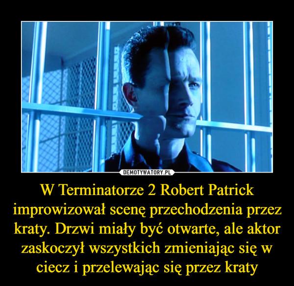 W Terminatorze 2 Robert Patrick improwizował scenę przechodzenia przez kraty. Drzwi miały być otwarte, ale aktor zaskoczył wszystkich zmieniając się w ciecz i przelewając się przez kraty –